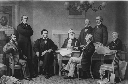 President Abraham Lincoln reads a draft of the Emancipation Proclamation to his Cabinet