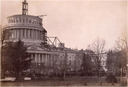 Unfinished Capitol dome at Lincoln;s first inaugural
