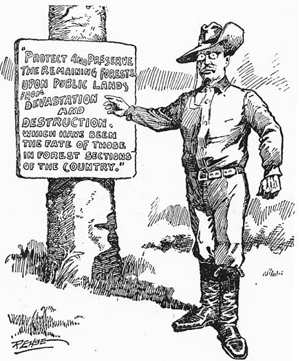 "1908 editorial cartoon of President Theodore Roosevelt as ""A Practical Forester.""  Source: St. Paul Minnesota ""Pioneer Press"". Via GPO's Government Book Talk blog."