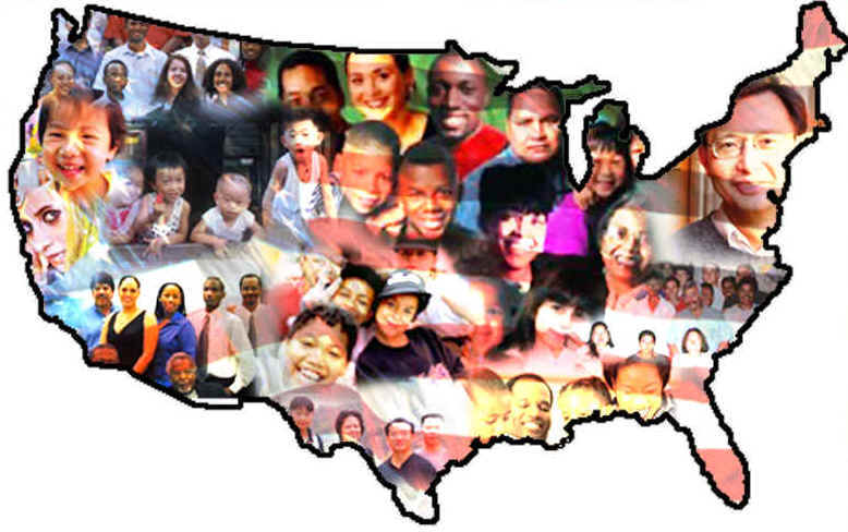 united states map with faces of immigrants the land of opportunity