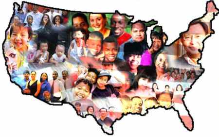 United States map with faces of immigrants - the Land of Opportunity?