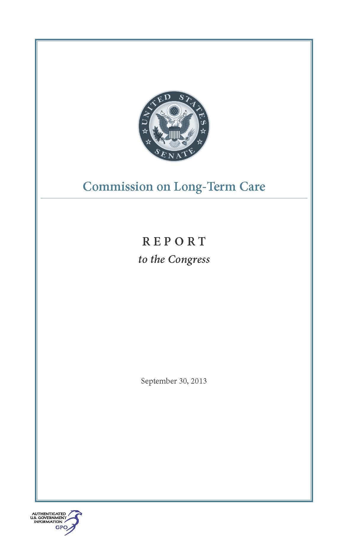 2013 government book talk commission on long term care final report from 2013 available from gpo gov