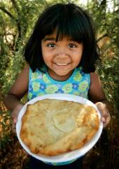 American Indian girl with Navajo fry bread