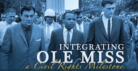"John F. Kennedy Presidential Library's account of James Meredith, the African-American student whose attempt to register at the University of Mississippi in 1962 led to a showdown between state and federal authorities and the storming of the campus by a segregationist mob. JFK Library ""Ole Miss"" microsite"