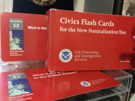 US Citizenship and Immigration Service Civics Flash Cards for the US Naturalization Test ISBN-9780160904608 Available from GPO's US Government Bookstore a http://bookstore.gpo.gov