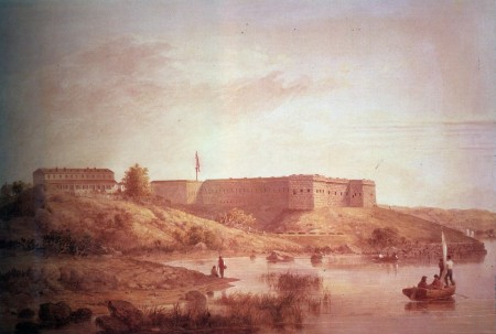 Painting of Fort Trumbull, Connecticut, by Seth Eastman hanging in the US Capitol