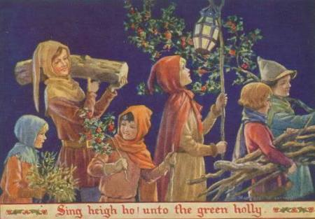 Sing-heigh-ho-ancient-British-yule-log on Christmas card