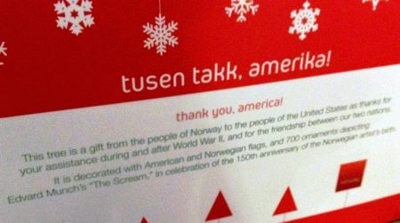 Tusen-takk-Amerika or Thank you, America banner from the Norwegian Embassy's 2013 Friendship Christmas Tree at Union Station in Washington, DC. Photo copyright: Michele Bartram