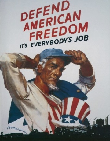 Defend-American-Freedom It's Everybody's-Job- World War II 2 propaganda poster for civilian workers