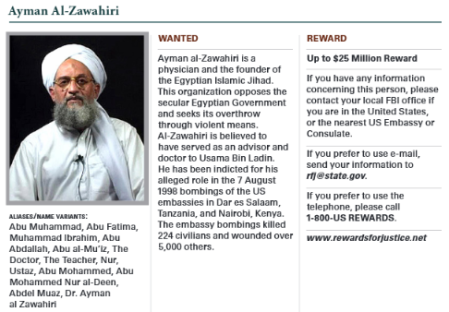 "Image: Extract from the ""wanted"" page of Ayman al-Zawahiri, Al-Qaida leader and founder of Egyptian Islamic Jihad. Source: NCTC 2015 Counterterrorism Calendar"