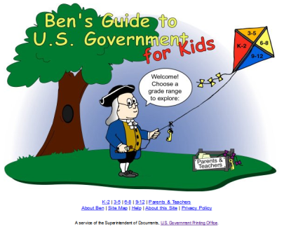 Image: Home page of Ben's Guide to U.S. Government for Kids as of March 12, 2014.