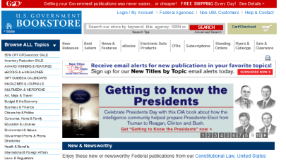 Image: Extract from GPO's U.S. Government Bookstore home page at http://bookstore.gpo.gov, which has print and digital publications available.