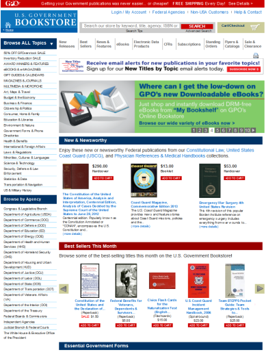 Image: Today's U.S. Government Online Bookstore home page as of March 12, 2014.