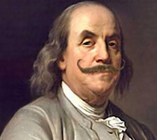 Benjamin Franklin wearing an ostentatious fake moustache for April Fool's Day