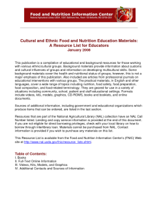 This resource list excerpt from 2008 for educators provides resource information on cultural and ethnic food nutrition.