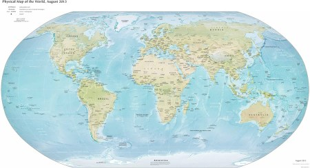 This image of the Physical Map of the World is one of several maps included the World Factbook