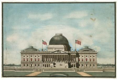Capitol in 1834 with Bulfinch dome Library of Congress (http://www.loc.gov/pictures)/item/2002711965/>