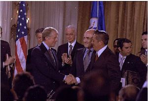 Jimmy Carter and Omar Torrijos at the ceremony for signing the Panama Canal Treaty (1977) - U.S. Department of State