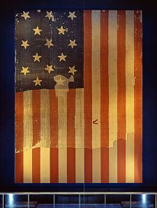 Star Spangled Banner Flag on display at the Smithsonian's National Museum of History and Technology, around 1964