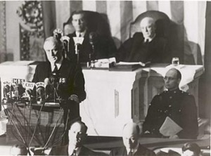 "President Roosevelt delivers his ""Day of Infamy"" speech to a joint session of Congress on December 8, 1941. (Image source: archives.gov)"
