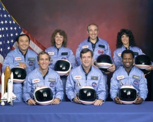 Challenger crew. Front row from left, Mike Smith, Dick Scobee, Ron McNair. Back row from left, Ellison Onizuka, Christa McAuliffe, Greg Jarvis, Judith Resnik. Image source: www.nasa.gov