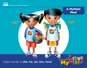 DMP Emergent Reader about a complete MyPlate meal