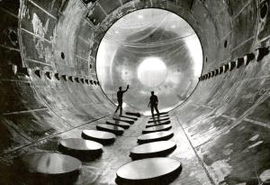 Credit: 1960s photo of Interior of the 20-foot-diameter vacuum tank in the Electric Propulsion Laboratory.